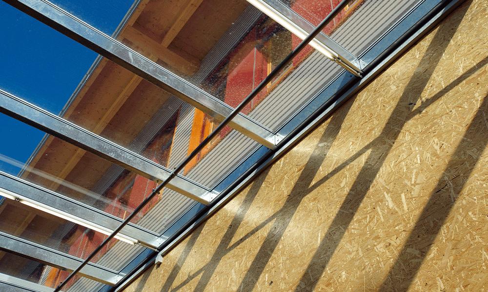 Détail fenêtres et murs en bois