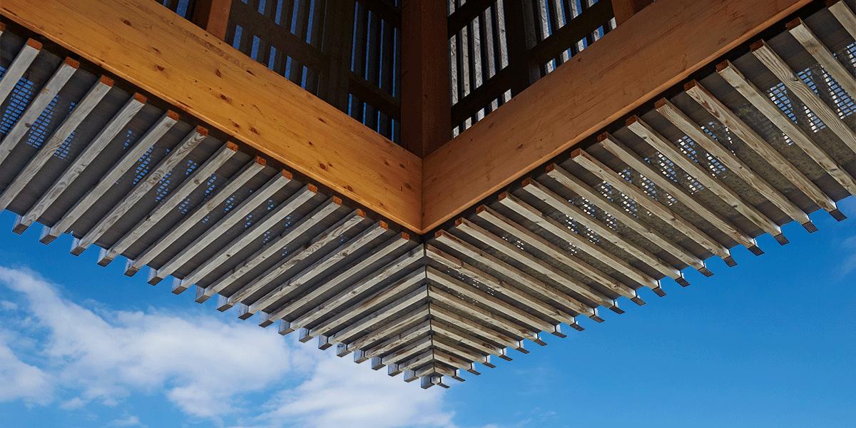 Détail de la façade en bardage bois
